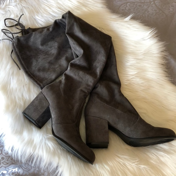 89c3f5533f8 NWOT Steve Madden Gray Over-The-Knee Slayer Boot. M 5b15aa5b9519966109a28a89